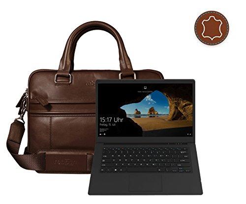 Leder Laptoptasche für Damen/Herren passend für Odys Trendbook Next 14 Pro | Braun
