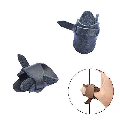 SHARROW 2 Stücke Bogenschießen Fingerschutz Leder Fingertabs Daumen Ring Schutz Daumenring für Mongolischen Recurve Bogen Bogensport Fingerschutz (Blau)