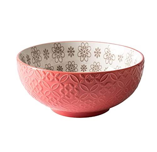 Keramische kom - Onderglazuur ambachtelijke 8 inch rijstkom - Bestand tegen hoge temperaturen en - Handige en praktische soepkom geschikt voor salades, rijst, desserts, magnetrons en vaatwassers