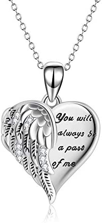 YFN Angel Wings Locket Necklace 925 Sterling Silver Guardian Angel Heart Locket Necklace that product image
