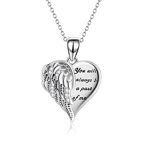YFN Angel Wings Locket Necklace 925 Sterling Silver Guardian Angel Heart Locket Necklace that Holds Pictures for Women Jewelry
