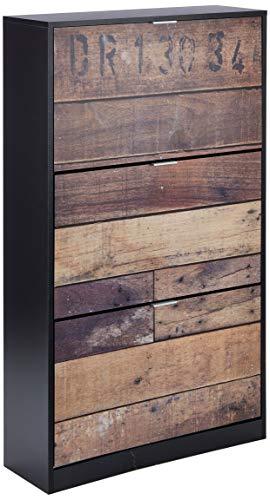 Marque Amazon -Movian - Meuble à chaussures, mélaminé noir mat