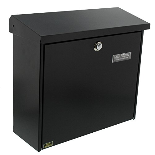 BURG-WÄCHTER Briefkasten ohne Zeitungsfach mit Namensschild, Verzinkter Stahl, Einwurf-Format DIN C4, Inkl. 2 Schlüssel, Comfort 913 S, Schwarz (ähnlich RAL 9005)