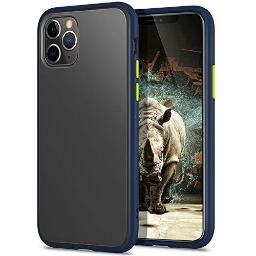 YATWIN Funda para iPhone 11 Pro(5,8''), [Shockproof Style] Transparente Mate Case, TPU Bumper Rubber y Botones Coloridos, Carcasa Protectora para iPhone 11 Pro 2019 - Azul Oscuro