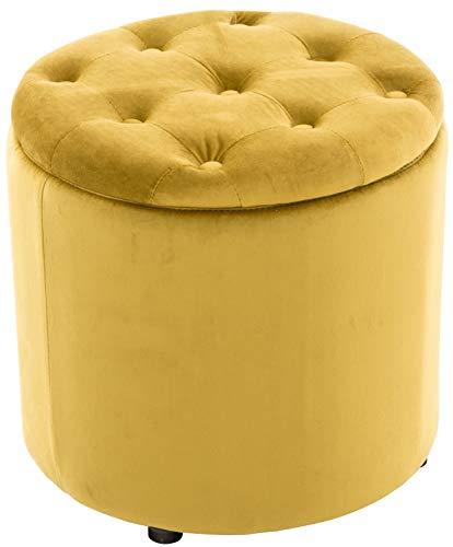 Pouf Contenitore Pantin in Velluto Design Chesterfield I Poggiapiedi Divano Contenitore con Coperchio I Sgabello Puff con Piedini, Colore:Giallo