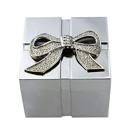 GOCF Caja de joyería de aleación de Zinc Moda Simple Jewelry Box Metal Cuadrado Caja de joyería de Plata eléctrica Caja de joyería de aleación de Zinc Pulsera de Anillo de Pendiente.