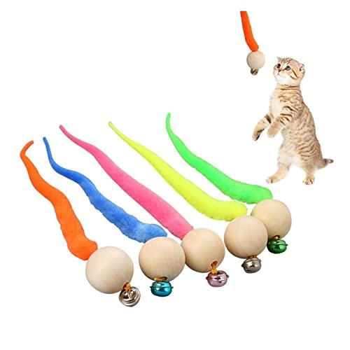 Pet-Produkte Wiggly Bälle Katze Glocke Spielzeug Neue Katze Kauspielzeug Holz Ball Wigchly Tasche Klingeln Kätzchen Biss Pet Spielzeug Katze Kaukau Haustiere Spielzeug ( Color : 5PC Random color )