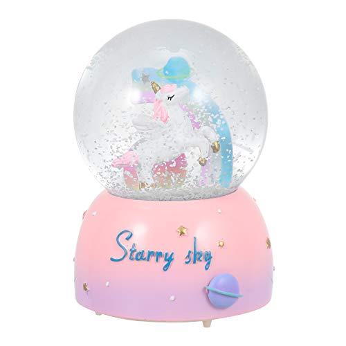 SOLUSTRE Globos de neve musicais de unicórnio para meninas, globo de neve de 80 mm com luzes intermitentes dentro como música toca, caixa de música de unicórnio perfeita para meninas, netas, bebês aniversário- rosa