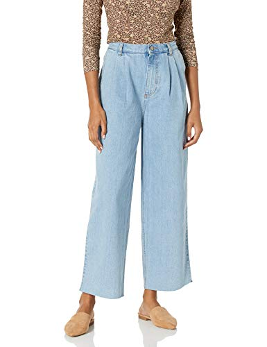 The Drop Women's Clara Pleated Wide Leg Cut Hem Jean