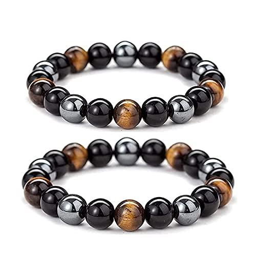 1 Paar Herren Infrarot Energie Armband, Lymphdrainage Tigerauge Armbänder, Dreifacher Schutz Armband Schwarzer Obsidian, Tigerauge Stein, Hämatit (8mm +10mm)