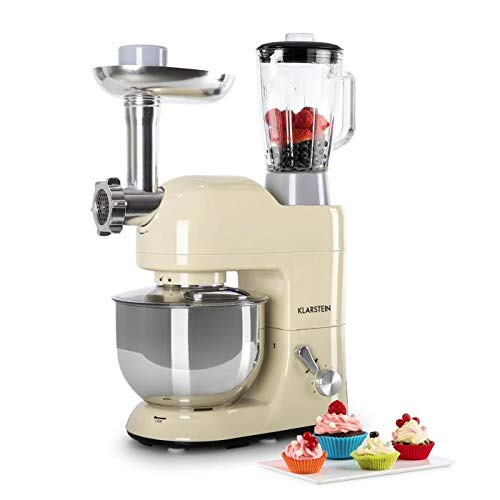 KLARSTEIN Lucia Morena • Multifunction Stand Mixer • Kitchen Machine •1300 Watts • 5.3 qt Bowl • 1.3 qt Mixing Glass • Meat Grinder • Pasta Maker • Blender • Adjustable Speed • Cream