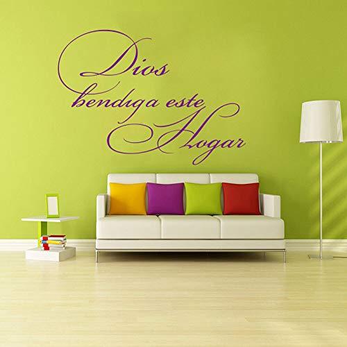 Aufkleber wandbild spanisch zitat gott segne dieses hause vinyl wandaufkleber aufkleber kunst vinyl aufkleber wohnkultur 46X58CM