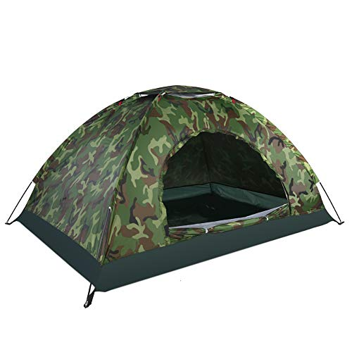 Outdoor Camouflage UV Protection Pop Up Dome Tent 2 Person Waterproof Camping Tent Ventilated Compact Sun Tent for Beach Garden Camping Fishing Picnic