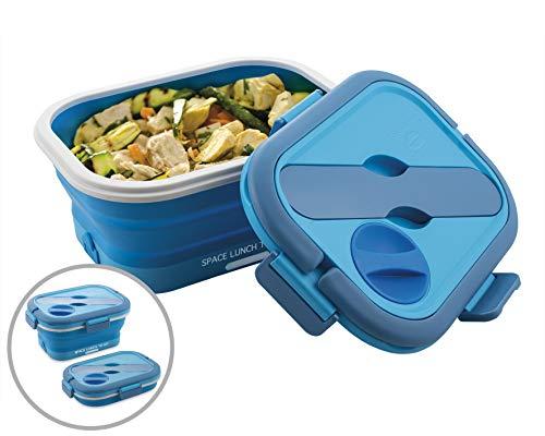 MACOM Just Kitchen 864 Space Lunch To Go Scaldavivande Elettrico Pieghevole Salvaspazio, 35 Watt, Blu/Bianco
