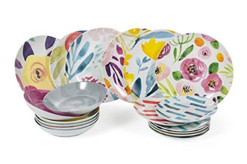 Villa d'Este Home Tivoli 2195333 - Acuarela de mesa de porcelana, 18 unidades