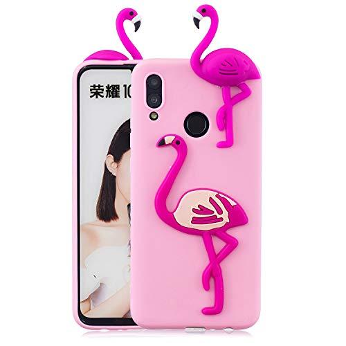 Artfeel Niedlich 3D Karikatur Hülle für Huawei Honor 10 Lite/Huawei P Smart 2019, Tier Flamingo Muster Weich Silikon Zurück Handyhülle,Ultra Dünn Flexibel TPU Stoßstange Stoßfest Schutzhülle
