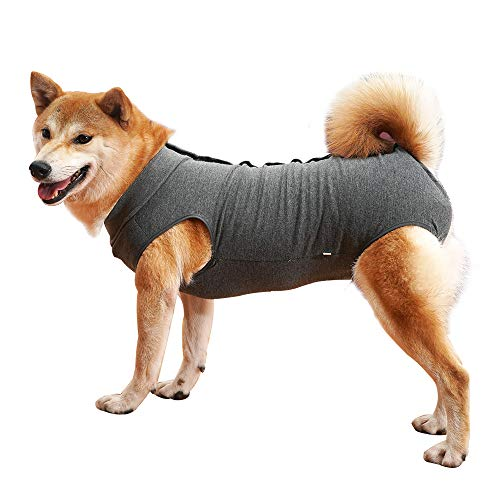 Dog Recovery Suit Abdominal Wound Protector Puppy Medical Surgical Clothes Post-Operative Vest Pet After Surgery Wear Substitute E-Collar & Cone (XL, Grey)
