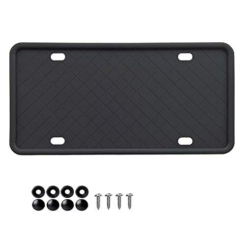 (2-Pack) Silicone License Plate Frame with Installation Hardware Screws & Caps - Draining Holes Rust-Proof Weather-Proof and Rattle-Proof US/Canada License Plate Frame for Cars and Trucks (Black)