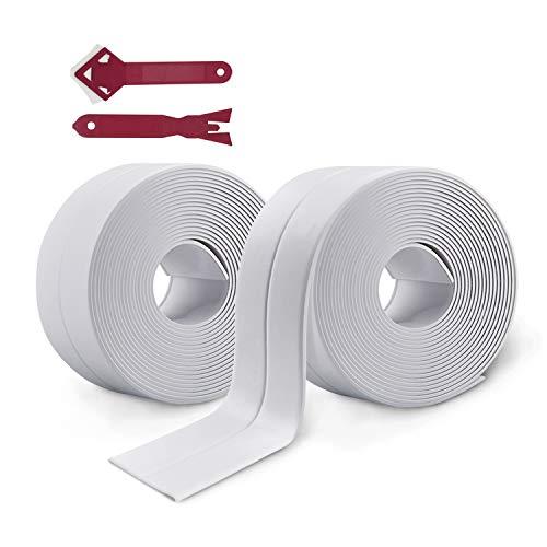 2 Rotoli Nastro Sigillante Autoadesivo Impermeabile,Sigillante per Anti-muffa Caulk Strip,Striscia di Tenuta per Bordo Vasca da Bagno Toilette Cucina e Angolo Parete (bianca)