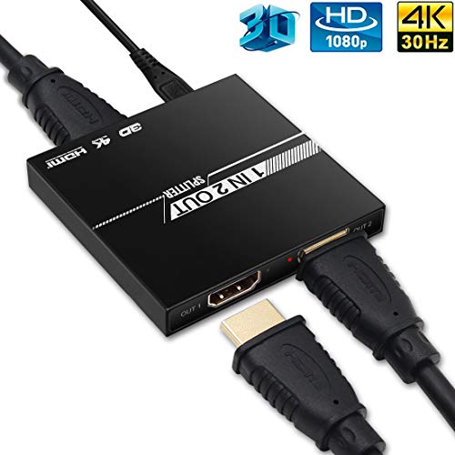 HDMI Splitter 1 in 2 Out, edola 2019 Upgrade Aluminum Ver1.4 HDCP, 4K HDMI 1x2 Splitter Supports 3D 4K@30HZ Full HD1080P for Xbox PS4/3 Fire Stick Roku Blu-Ray Player Apple TV HDTV