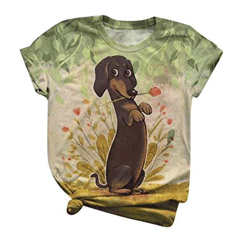 Routinfly Camiseta de manga corta para mujer con estampado de animales en 3D, cuello redondo, informal, camiseta de manga corta