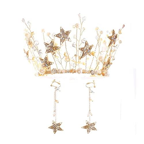 Tiaras y coronas doradas, estrellas de cristal, diadema alta, tocado de princesa para mujer, tocado de novia, perla, accesorios para el cabello de boda, hilo para el cabello, joyería