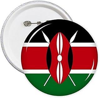 Drapeau national du Kenya Afrique Country Symbole Mark Motif rond badge à épingle Bouton 5pcs XL