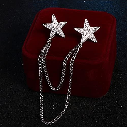 KLHHG Moda New Crystal Pentagram Star Tassel Mini Broche Pin para Camisa Cuello Cuello Pins and Broches Insignia Solapa Accesorios para Hombres (Color : Silver)