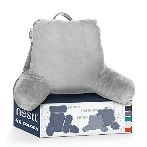 Nestl Reading Pillow, Medium Back Pillow, Backrest Pillows for Bed with Arms, Shredded Memory Foam Back Pillows for Sitting in Bed, Back Support Pillow for Kids Teens & Adults, Silver Gray