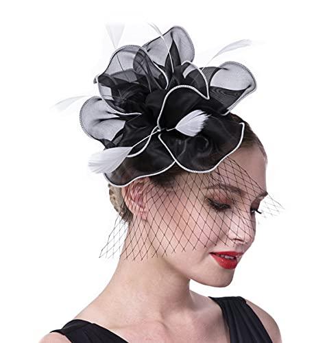Fascinators Hat for Women Tea Party Headband Girls Flapper Headpiece Kentucky Derby Wedding (FM02-Black and White)