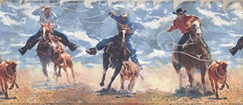 Concord Wallcoverings Retro Western Theme Wallpaper Border Featuring Cowboys Catching Calves with Lasso Rope, Size 10.5 Inches by x 15 Feet IN2645B