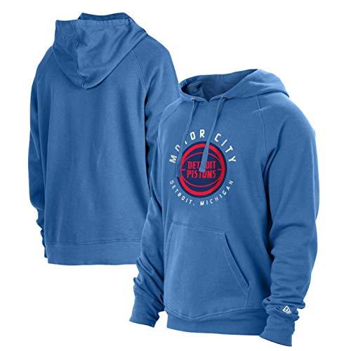 NBA 2021 Atlanta Hawks Detroit Pistons Logo Hoodie Sudadera Con Capucha Hombre, Camisetas De Baloncesto, Camisetas Casuales, Lavables A Máquina, Adecuadas Para Deportes Al Aire Libre,Azul,L