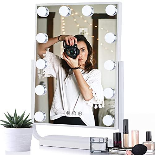 WOOHSE Espejo de maquillaje giratorio 360° con luz, espejo de Hollywood, espejo cosmético con 12 LED regulables, conversión de luz de 3 colores, función de memoria, 33 x 48 x 11 cm