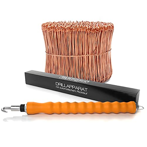 Tarpofix® Drillapparat Driller + Rödeldraht 1,0 x 140 mm (250 Stk.) - hochwertiges Set aus Drahtbinder Rödelzange & Bindedraht Sackverschluss - verkupferter Drahtverschluss Ösendraht Drill Draht