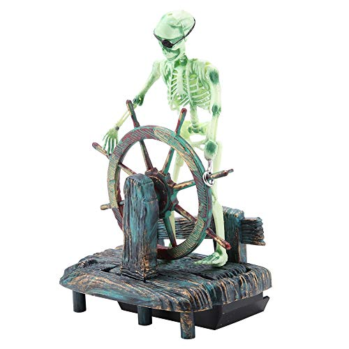 Smandy Aquarium Dekoration Piratenkapitän Skeleton on Wheel Action Aqua Ornaments Aquarium Ornamente ideal für kleine Garnele Fisch Schildkröte, 11,5 x 7,5 x 15 cm