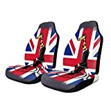 Holuday Car Seat Covers Union Jack Penny Farthing Giraffe British Flag Car Seat Protector Cushion Group Universal Pair Bucket Seat Cover Fits Most Cars Trucks SUVs Vans-2PCS