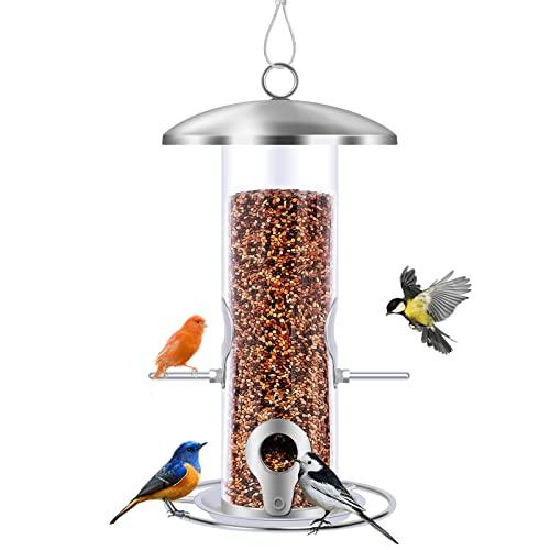 Gtongoko Metal Tube Bird Feeder for Outside Hanging, 10.2 Inch Clear Plastic Wild Bird Feeder for Outside Hanging,Circular Perch for More Birds