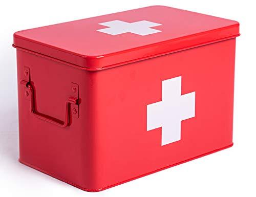 Theo&Cleo Medizin Box Metall, Erste Hilfe Kasten Koffer Schrank, Arzneischrank Medizinkoffer Retro, Medizinschrank Groß XXL, 32 * 19 * 20 cm Rot