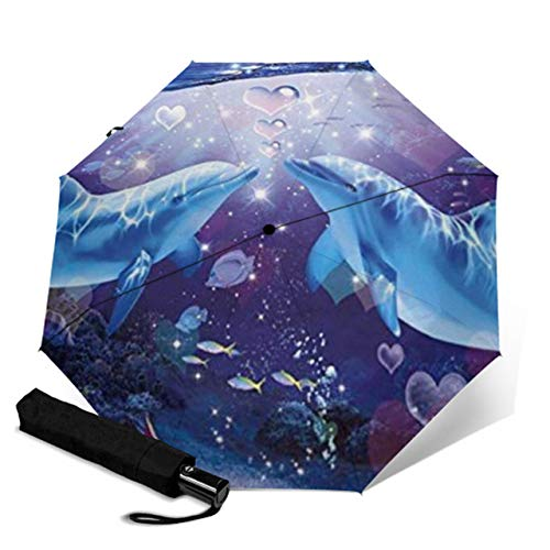 New Personality Animal Fully Automatic Cute Dolphin Painting Umbrella Purple Woman Umbrella rain and Windproof Umbrella