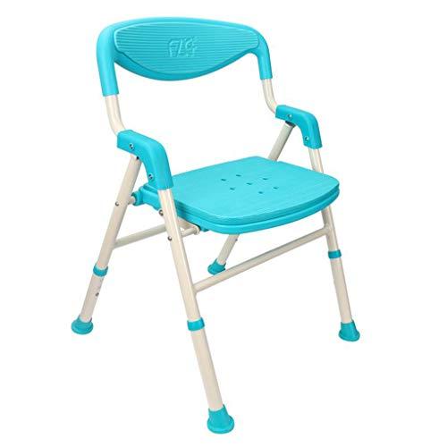 Sarazong Faltbarer justierbarer Bad-Stuhl, medizinische werkzeuglose Versammlung älterer Bad-Stuhl-Duschstuhl-Badewannen-Schemel mit entfernbarer,Blue