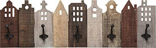 Kare Design Garderobe Terrace, Garderobenleiste mit 5 Garderobenhaken aus Stahl, Wandgarderobe aus Holz, Wandpaneel, Braun (H/B/T) 26x82x7,5cm