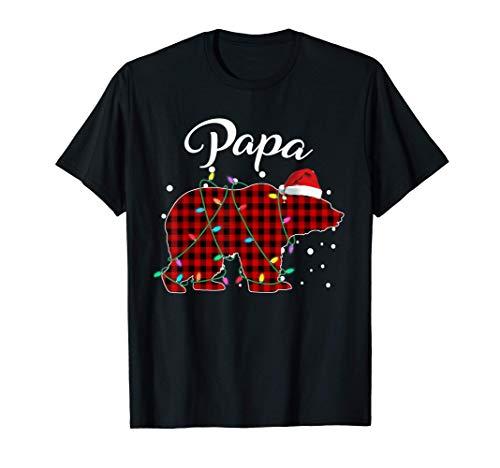 Red Plaid Papa Bear Matching Buffalo Pajama T-Shirt T-Shirt