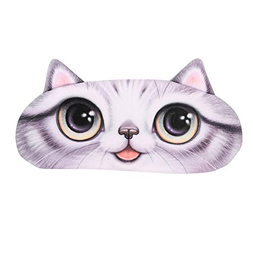 Schlafbrille Katze Schlafmaske Schlafhilfe für Damen Mädchen Herren Junge Augenmaske Weiche Augenabdeckung mit Gummiband, Grau, 21 x 9 cm(LxB)