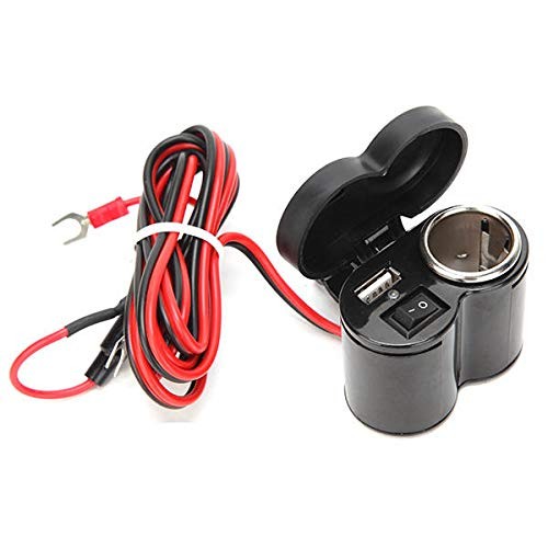Adaptador Cargador USB con botón de interruptor Papera impermeable Motocicleta 12-24V 7/8 pulgadas 1 pulgada