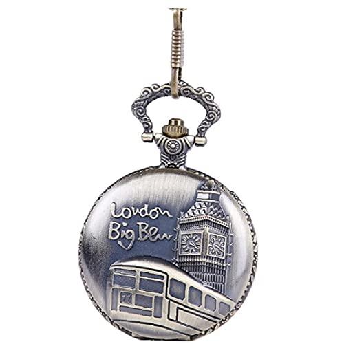 Yililay Mujeres Bolsillo analógico Reloj de Bolsillo de Cuarzo Grueso Cadena en Relieve Ben Ben patrón Collar Colgante Bolsillo Reloj Bronce Vintage Collar Collar de Bolsillo l