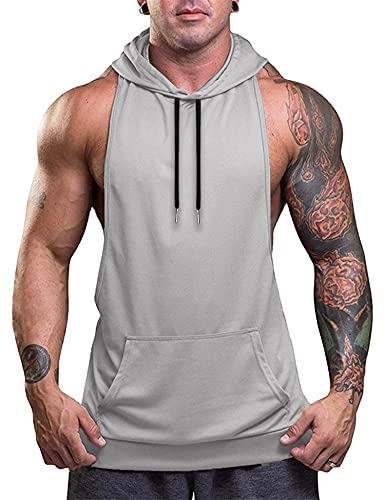Babioboa Hooded Tank for Men Quick-Dry Sleeveless Shirt Workout Muscle Bodybuilding Cut Off T-Shirt Grey