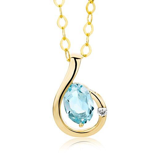 Miore Kette - Halskette Damen Gelbgold 9 Karat / 375 Gold Kette Blauer Topas mit Diamant Brilliant 45 cm