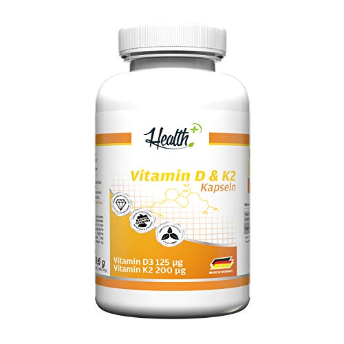 Health+ Vitamin D3 & K2, 90 Kapseln mit je 5000 IE Vitamin D3 und 200 mcg Vitamin K2, hochdosierte Vitamin D Kapseln, Made in Germany