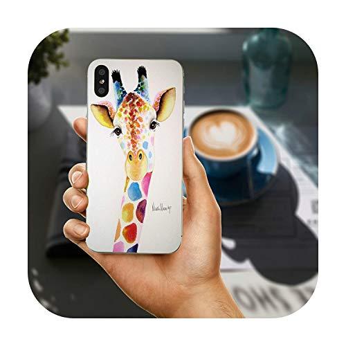 Fundas de teléfono móvil para iPhone X XR XS 11 Pro Max 10 7 6 6s 8 Plus 4 4S 5 5S SE 5C Coque acuarela jirafa amistad