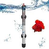 GBLDLY Calentador de acuario sumergible, tanque de peces sumergible de vidrio de cuarzo, 25 w/50 w/100 w/200 w/300 w calentadores de temperatura constante con termómetro y taza extra